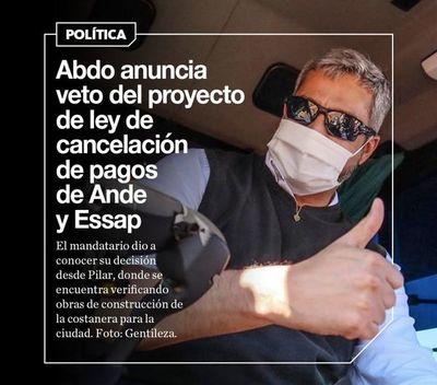 Abdo anuncia veto del proyecto de ley de cancelación de pagos de Ande y Essap