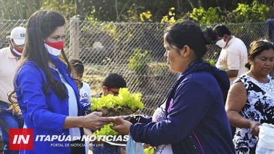DESDE LA MUNICIPALIDAD DE JOSÉ LEANDRO OVIEDO ENTREGAN PLANTINES PARA HUERTA FAMILIAR.
