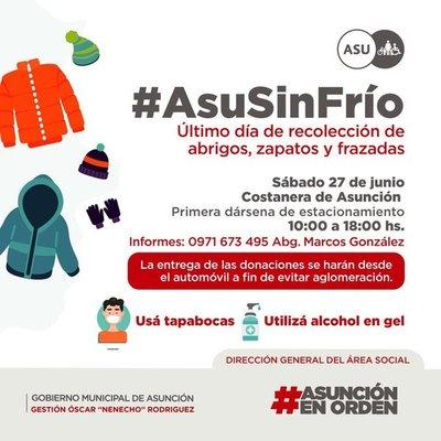 Municipalidad de Asunción realiza campaña de recolección de abrigos para familias vulnerables de la ciudad capital