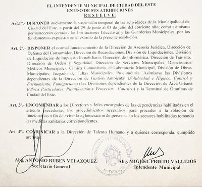 Municipalidad continuará con suspensión de actividades
