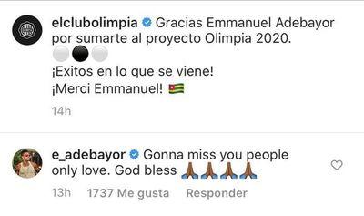 """""""Te voy a extrañar"""", el adiós de Emmanuel Adebayor"""
