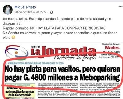 Miguel Prieto vuelve a ATACAR la LIBERTAD de PRENSA y tilda de DROGADICTOS a periodistas
