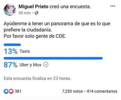 """Ciudadanía de CDE dice """"NO"""" a taxistas y """"SI"""" a UBER y MUV"""