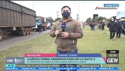HOY / Sigue el cierre de la Ruta 2 en Coronel Oviedo, por parte de cañicultores