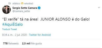"""La bienvenida del presidente del Mineiro: """"Junior Alonso es del Galo"""""""