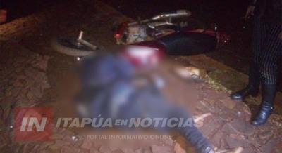 MOTOCICLISTA LESIONADO TRAS CHOCAR UNA VACA EN ITAPÚA POTY.