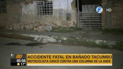 Motociclista muere tras chocar contra columna de la ANDE