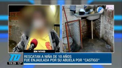Castigan a niña encerrándola en una jaula para conejos
