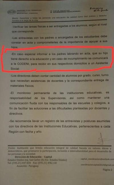 Amenazan con intervención de Codeni en caso de estudiantes que no entreguen la tarea