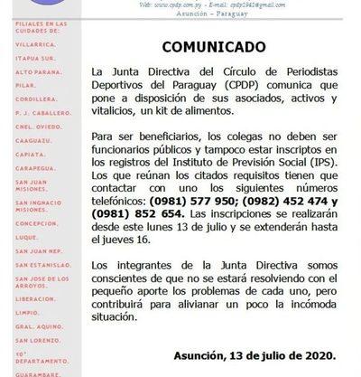 Círculo de Periodistas distribuirá kits a socios