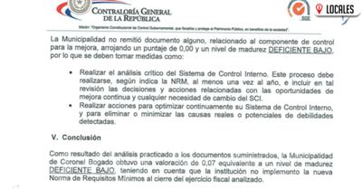 Contraloría califica como deficiente sistema de control en Coronel Bogado