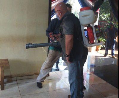 Desinfectan oficinas y patrulleras de comisaría en Franco