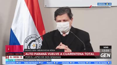 Salud Pública reinstala por dos semanas cuarentena total en Alto Paraná