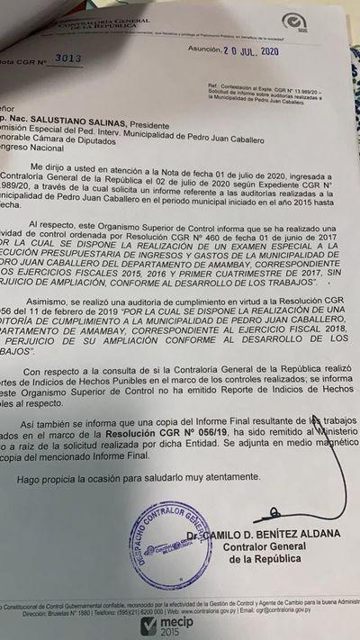 AUDIO: Según informe de Contraloría no existe daño patrimonial en la Municipalidad de PJC